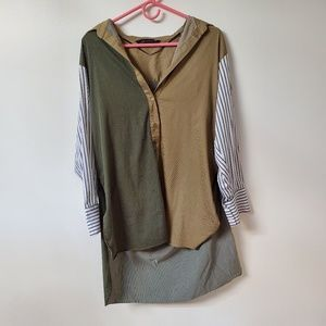 Zara oversized multi color pinstripe tunic